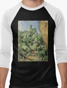 Paul Cezanne - The Red Rock  1895 Impressionism  Landscape Men's Baseball ¾ T-Shirt