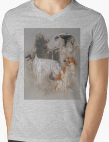Borzoi - Russian Wolf Hound/Ghost Mens V-Neck T-Shirt