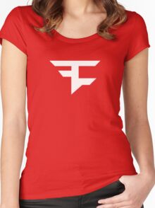 Faze Clan | White Logo | Red Background | High Quality! Women's Fitted Scoop T-Shirt