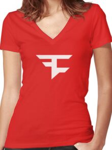 Faze Clan | White Logo | Red Background | High Quality! Women's Fitted V-Neck T-Shirt
