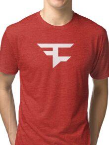 Faze Clan | White Logo | Red Background | High Quality! Tri-blend T-Shirt