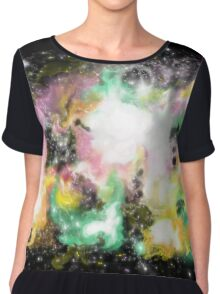 Pink and Green Galaxy Women's Chiffon Top