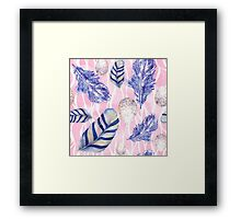 Feathers and Spotted Eggs woodland nature pattern Framed Print