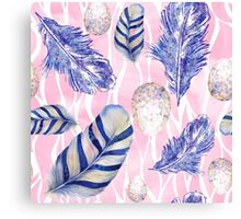 Feathers and Spotted Eggs woodland nature pattern Canvas Print