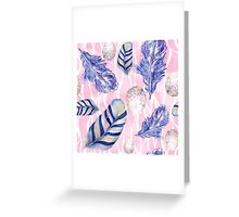 Feathers and Spotted Eggs woodland nature pattern Greeting Card