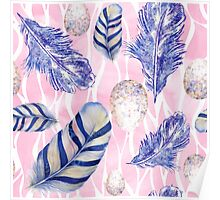 Feathers and Spotted Eggs woodland nature pattern Poster