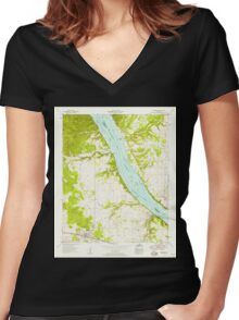 USGS TOPO Map Alabama AL Cherokee 303474 1954 24000 Women's Fitted V-Neck T-Shirt
