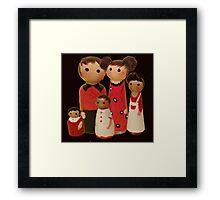 Red Peg Doll Family  Framed Print