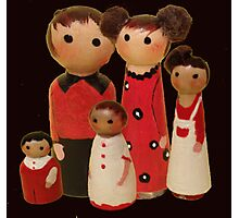 Red Peg Doll Family  Photographic Print
