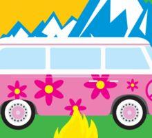 CAMPING HAPPY CAMPER COLORADO MOUNTAINS VOLKSWAGEN BUS CAMPFIRE PEACE HIPPIE Sticker