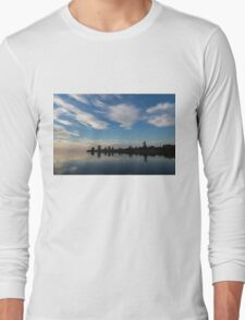 Blue and White Serenity - a Lakefront Stillness Long Sleeve T-Shirt