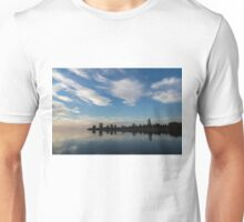 Blue and White Serenity - a Lakefront Stillness Unisex T-Shirt