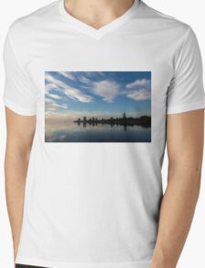 Blue and White Serenity - a Lakefront Stillness Mens V-Neck T-Shirt
