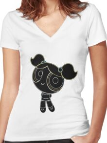 Powerpuff Girls Bubbles Women's Fitted V-Neck T-Shirt