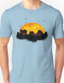 Sunset over city skyline - Birds T-Shirt