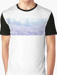Foggy Blossom Tree Landscape Graphic T-Shirt