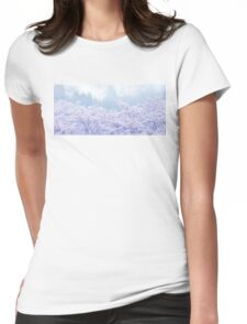 Foggy Blossom Tree Landscape Womens Fitted T-Shirt