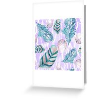 Feathers and Spotted Bird Eggs woodland nature pattern Greeting Card