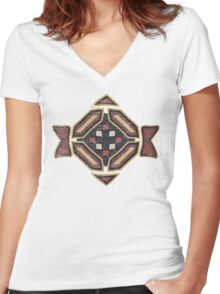 Cool Abstract Enchanting Shapes and Colors Women's Fitted V-Neck T-Shirt