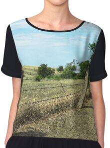Kansas Post Rock Fence Chiffon Top