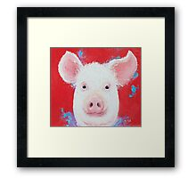 Smiling pig painting Framed Print