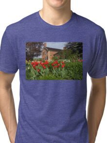 Tulip Garden - Marvelous Spring Flower Beds With Red Tulips and More Tri-blend T-Shirt