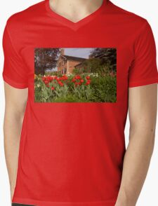 Tulip Garden - Marvelous Spring Flower Beds With Red Tulips and More Mens V-Neck T-Shirt