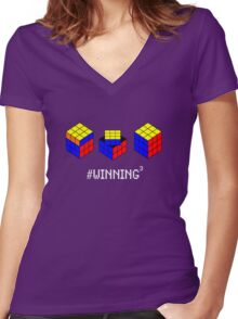 Winning Cubed Women's Fitted V-Neck T-Shirt