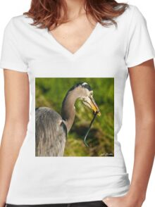 Blue Heron with a Snake in its Bill Women's Fitted V-Neck T-Shirt