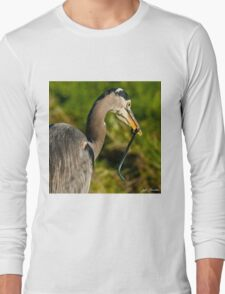 Blue Heron with a Snake in its Bill Long Sleeve T-Shirt