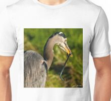 Blue Heron with a Snake in its Bill Unisex T-Shirt