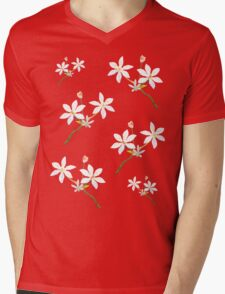 White Wildflower Mens V-Neck T-Shirt