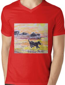 Beach Dog Mens V-Neck T-Shirt