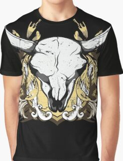 Bull Skull with Engraved Floral Detail - V1 Graphic T-Shirt