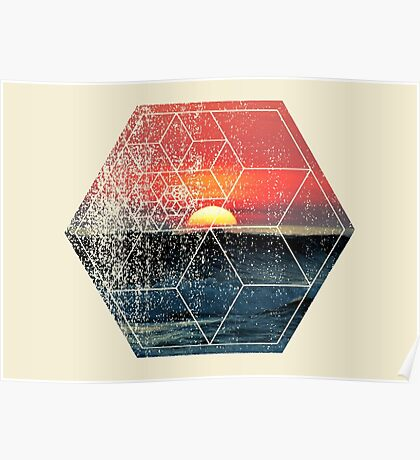 Nature and Geometry - Sunset at Sea Polygonal Design Poster