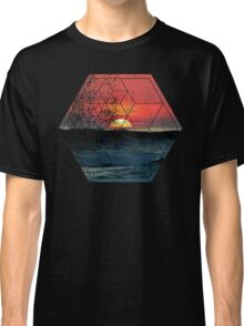 Nature and Geometry - Sunset at Sea Polygonal Design Classic T-Shirt
