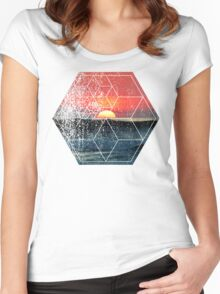 Nature and Geometry - Sunset at Sea Polygonal Design Women's Fitted Scoop T-Shirt