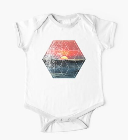Nature and Geometry - Sunset at Sea Polygonal Design One Piece - Short Sleeve