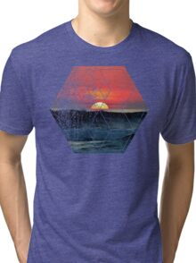 Nature and Geometry - Sunset at Sea Polygonal Design Tri-blend T-Shirt
