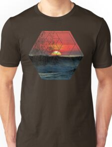 Nature and Geometry - Sunset at Sea Polygonal Design Unisex T-Shirt