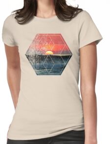 Nature and Geometry - Sunset at Sea Polygonal Design T-Shirt