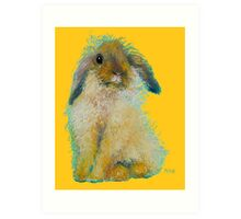 Brown bunny rabbit on gold Art Print