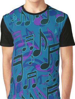 Music Notes Lively Expressive Blue Green Graphic T-Shirt