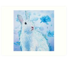 White rabbit on blue poppies background Art Print