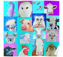 Animal paintings collage for nursery wall Poster