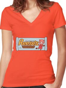 ACNL Reese's Peanut Butter Cups  Women's Fitted V-Neck T-Shirt
