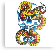 Traditional Tattoo Snake and Skull Canvas Print
