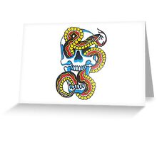 Traditional Tattoo Snake and Skull Greeting Card
