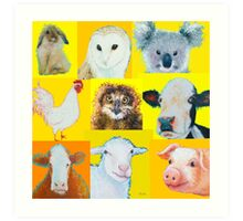 Animal painting collage for nursery wall Art Print