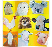 Animal painting collage for nursery wall Poster